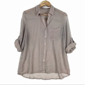 Body Central polka dot button up roll sleeve shirt